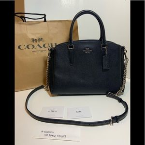 Coach Sage Carryall Shoulder Handbag, Black/Silver